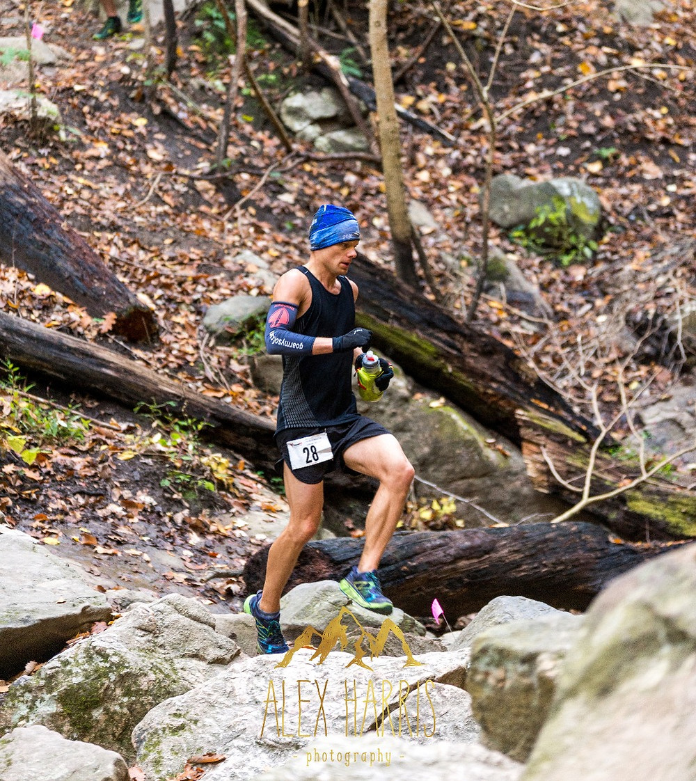 Ultrarunner racing on trails