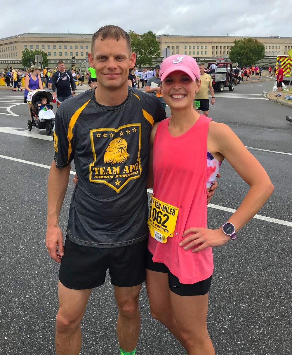 Man and woman runner at Army Ten Miler