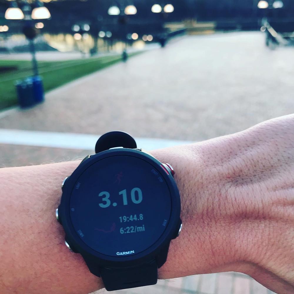 Garmin watch shows breaking 20 minutes in the 5k