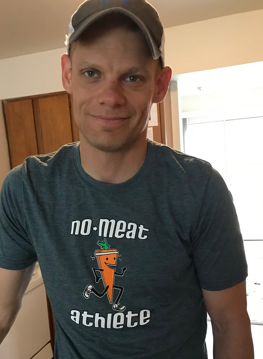 young father in no meat athlete shirt
