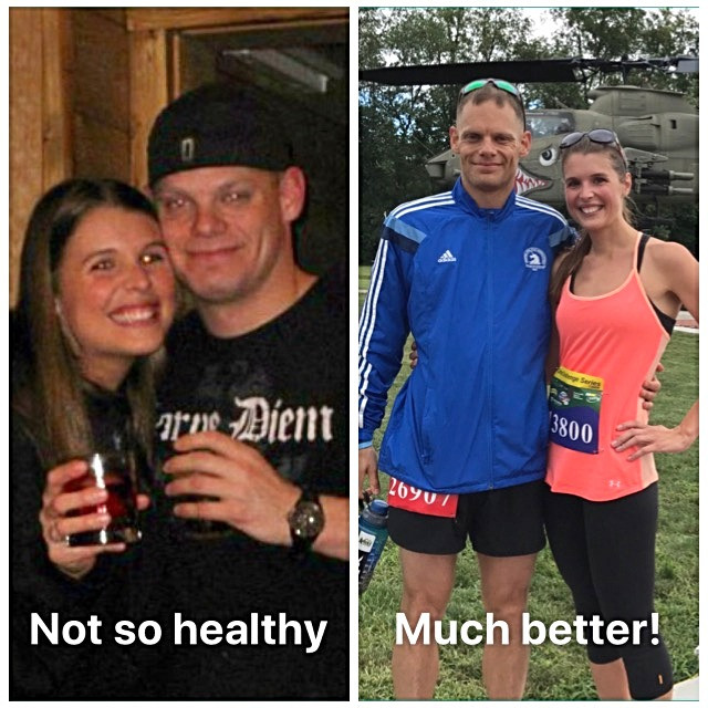 before and after binge eating picture of husband and wife