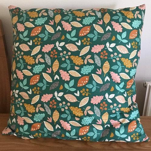 Green Leaves & Acorn Cushion
