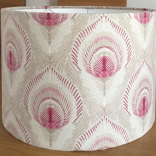Grey Peacock Feather Lampshade