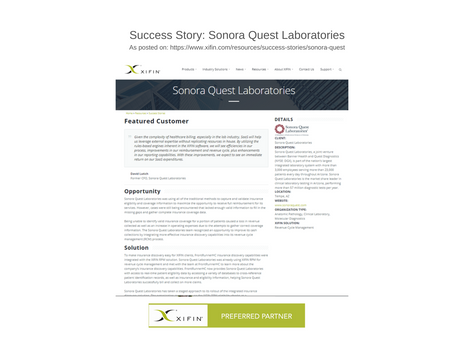 Success Story: Sonora Quest Laboratories (as featured on XIFIN website)