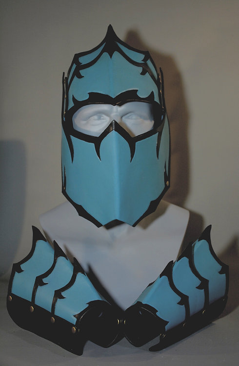 Teal/Black Leather Helmet w/Bracers: Pattern by Prince Armoury Crafted by RSS