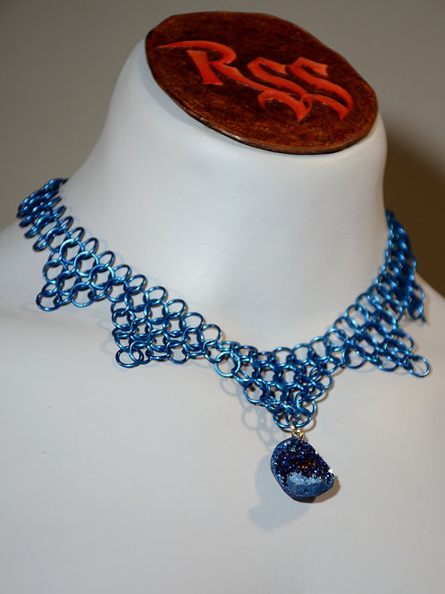 Blue Anodized Aluminum Chainmail and Druzy Pendant by Red Stick Studio
