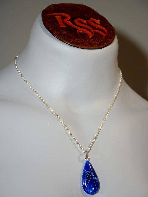 Recycled Acrylic Pendant: Metallic Blue Swirls by Red Stick Studio