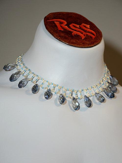 Ladder Stitched Choker w/ Smoky Glass Necklace accessory jewelry