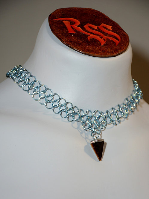 Pale Blue Anodized Aluminum Chainmail & Tigers Eye Necklace accessory jewelry