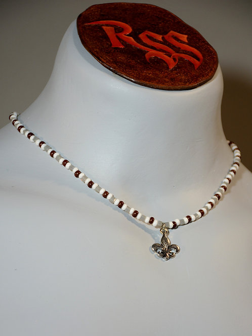 Fleur De Lys with Brown and White Glass Beads by Red Stick Studio