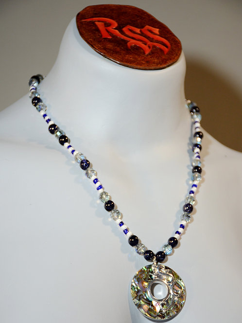 Sterling Silver Edged Abolone Necklace by Red Stick Studio