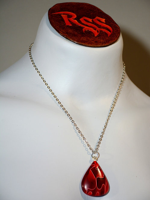 Recycled Acrylic Pendant: Red and White by Red Stick Studio