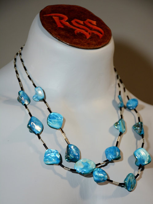 2 Strand Blue Shell Necklace jewelry accessory
