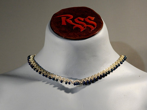 Sterling Silver Necklace & Dark Glass Colourshift Beads by Red Stick Studio