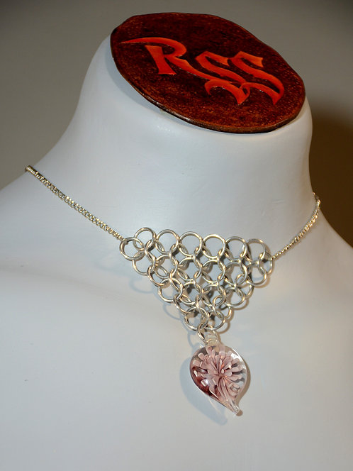 Chain with Chainmail Triangle: Shiny Aluminum, Glass Flower Dangle by RSS