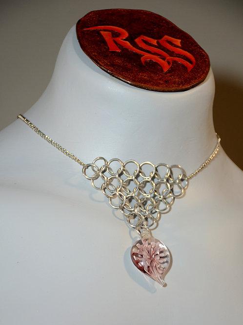 Chain w/ Chainmail Triangle: Shiny Aluminum Glass Flower jewelry accessory
