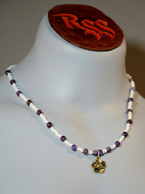 Amethyst and Golden Flower Necklace by Red Stick Studio