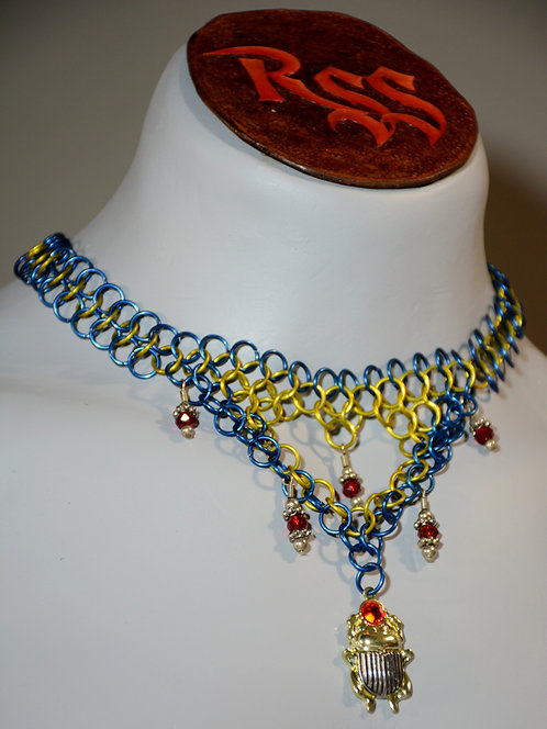 Egypt Chainmail Necklace w/ Scarab Pendant Necklace accessory jewelry