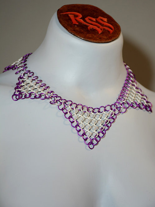 Violet & Ice Anodized Aluminum Chainmail Collar by Red Stick Studio