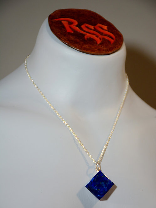 Recycled Acrylic Pendant: Blue, Dark Blue & Gold Square by Red Stick Studio