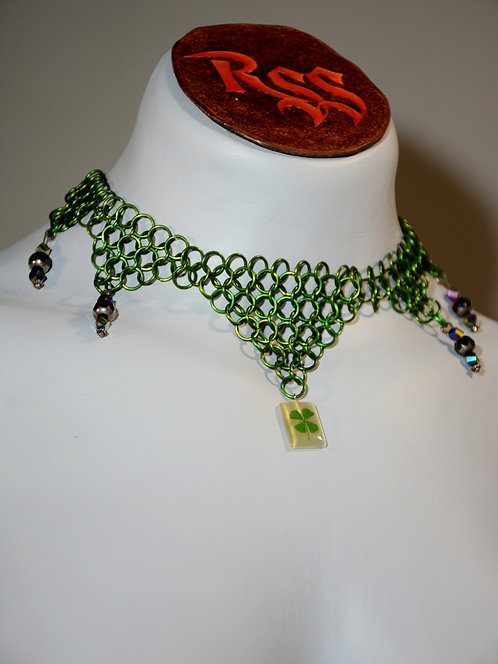 Green Anodized Aluminum Chainmail & 4 Leaf Clover by Red Stick Studio