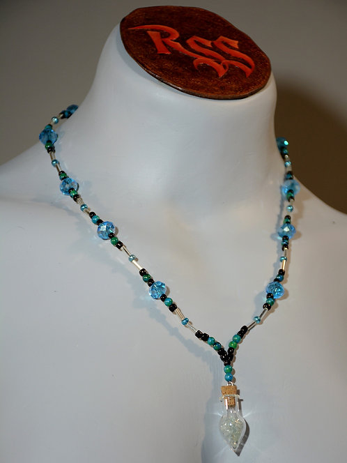 Glass Bead and Amazonite Necklace with Aquamarine Chip Vial jewelry accessory