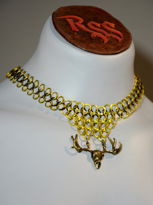 Yellow / Black Chainmail w/ Stag Skull Necklace accessory jewelry