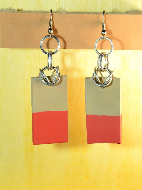 Short Rectangle Earrings, Recycled Leather