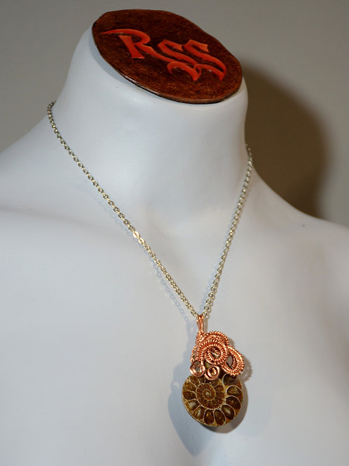 Ammonite Pendant Wrapped with Raw Copper