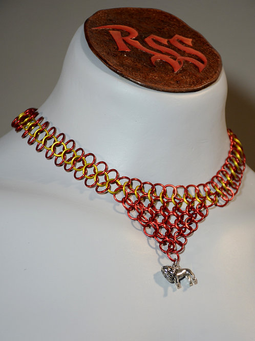 Red / Yellow Anodized Aluminum Chainmail w/ Lion by Red Stick Studio
