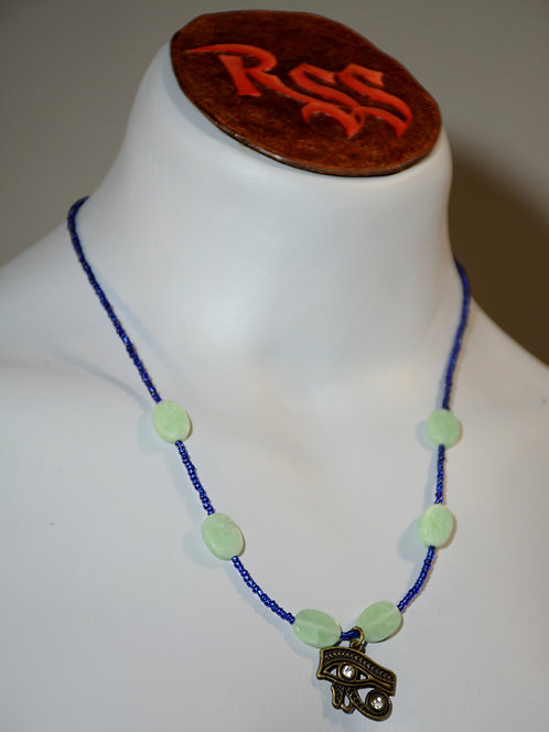 Egyptian Necklace and Green Oval Stones by Red Stick Studio