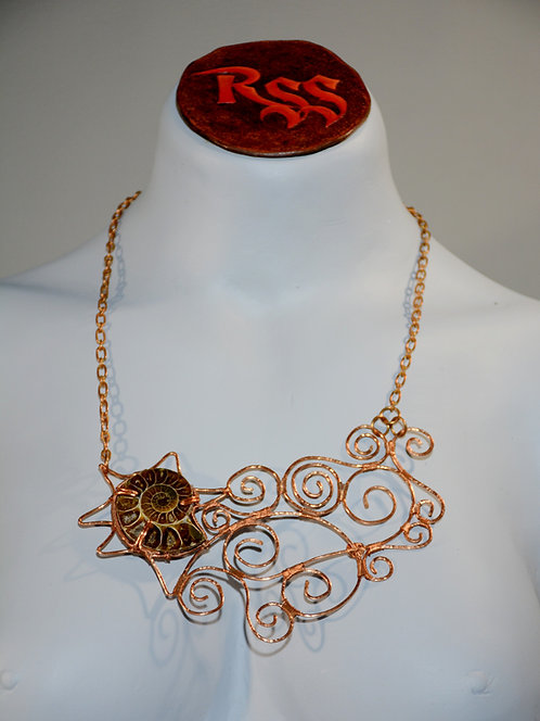 Wide Ammonite Statement Pendant on Copper Chain jewelry accessory