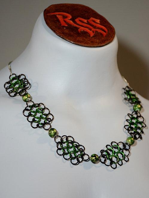 Green & Black Anodized Aluminium w/ Ceramic Beads Necklace accessory jewelry