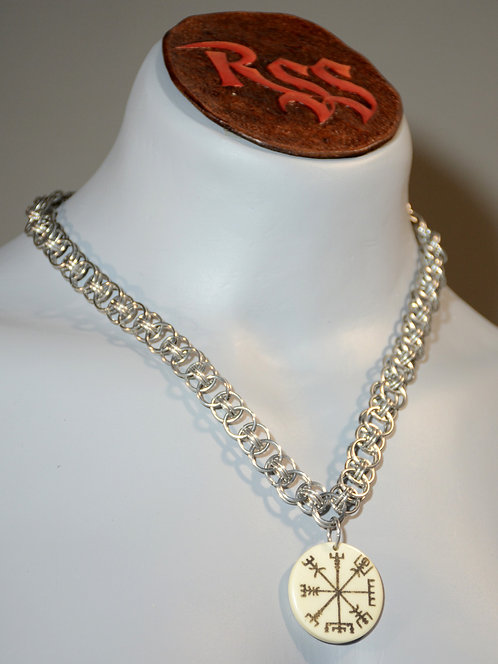 Bright Aluminum Chainmail & Engraved Bone Nordic Pendant by Red Stick Studio