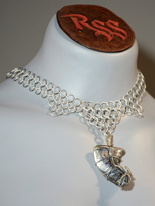Frosty Chainmail & Abolone Pendant Necklace accessory jewelry