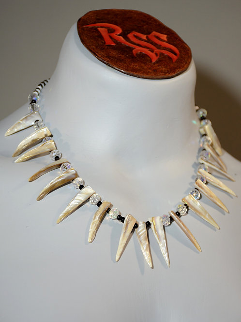 Shell Slivers with Black and Clear Glass jewelry accessory