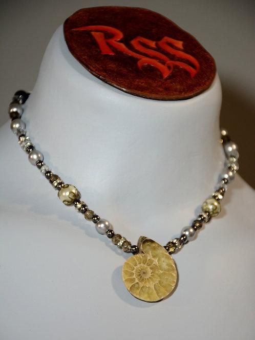 Ammonite with Smoky Glass jewelry accessory