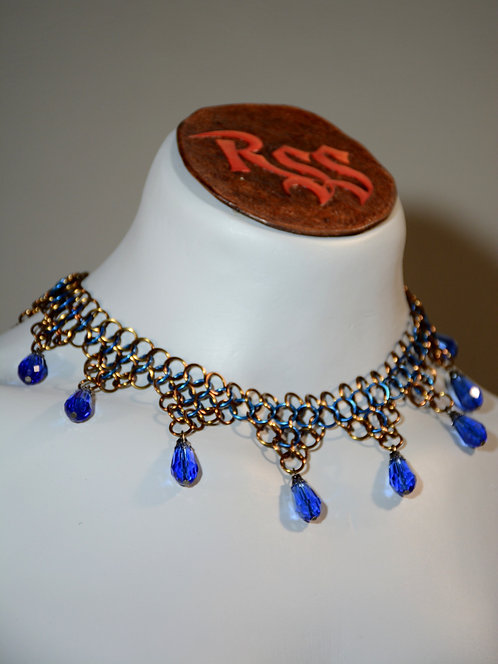 Bronze & Blue Chainmail w/ Blue Glass Necklace accessory jewelry