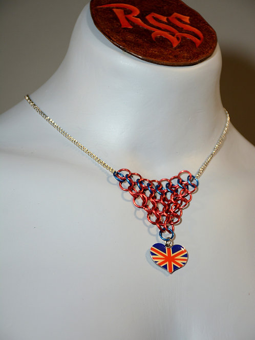 Chain w/ Chainmail Triangle: Blue / Red w/ British Flag Heart jewelry accessory