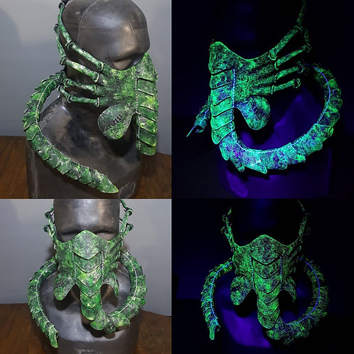 UV Green/Black Fixed Size Face Hugging Mask, facehugger, alien costume mask