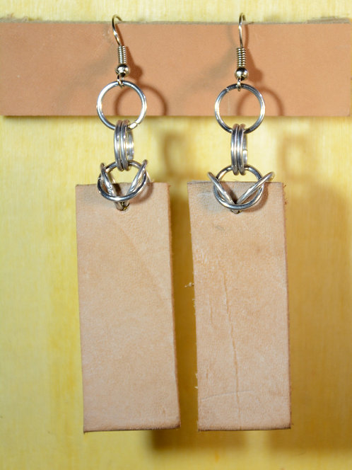 Long Rectangle Earrings, Recycled Leather