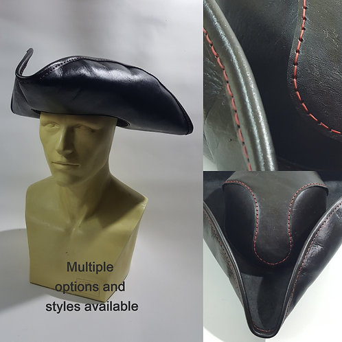Leather Pirate Hat; Pirate Costume Accessory haberdasher