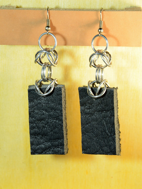 Medium Rectangle Earrings, Recycled Leather jewelry accessory