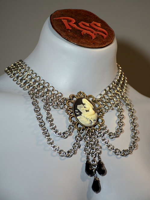 Stainless Steel Chainmail Choker & Vintage Cameo Necklace accessory jewelry