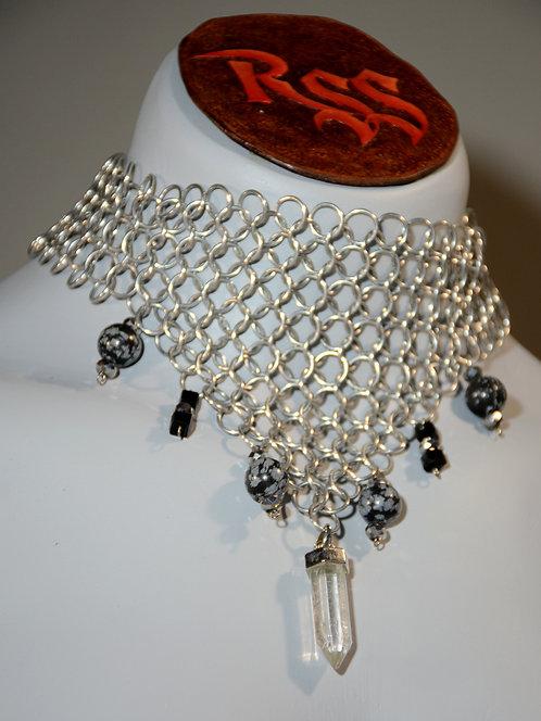 Chainmail & Quartz w/ Snowflake Obsidian Necklace accessory jewelry