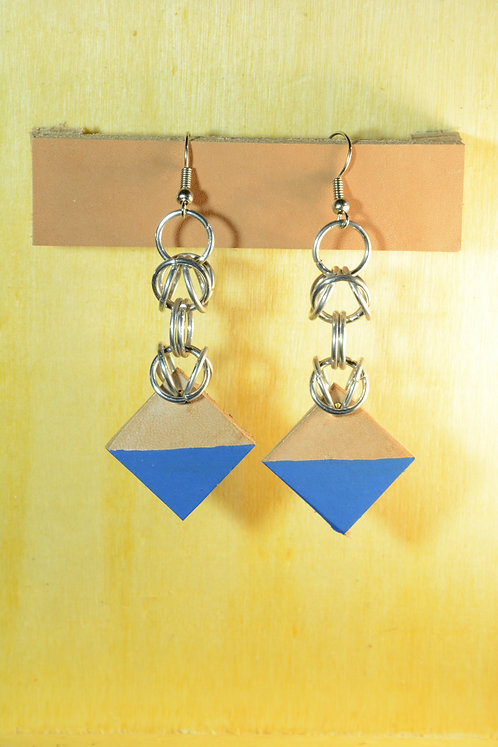 Diamond Earrings, Recycled Leather