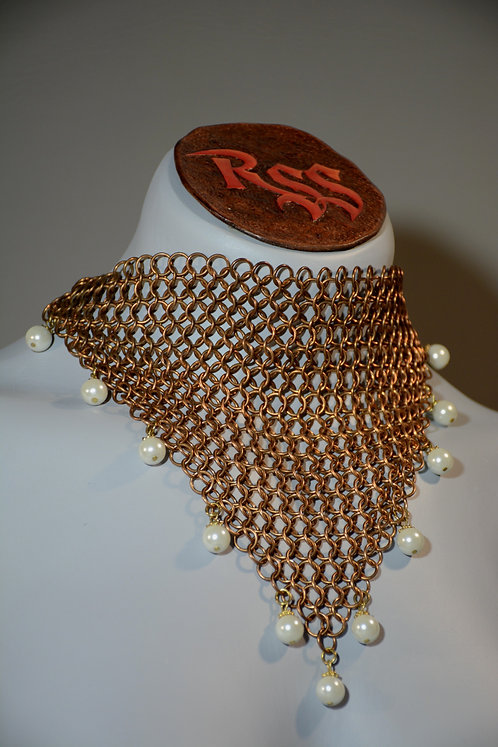 Brass Chainmail Choker & Man Made Pearl Bead Accent by Red Stick Studio