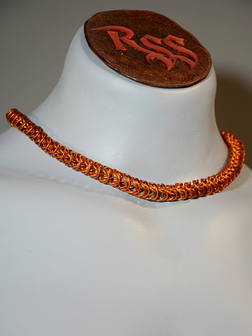 Orange Anodized Aluminum Box Chain Necklace accessory jewelry