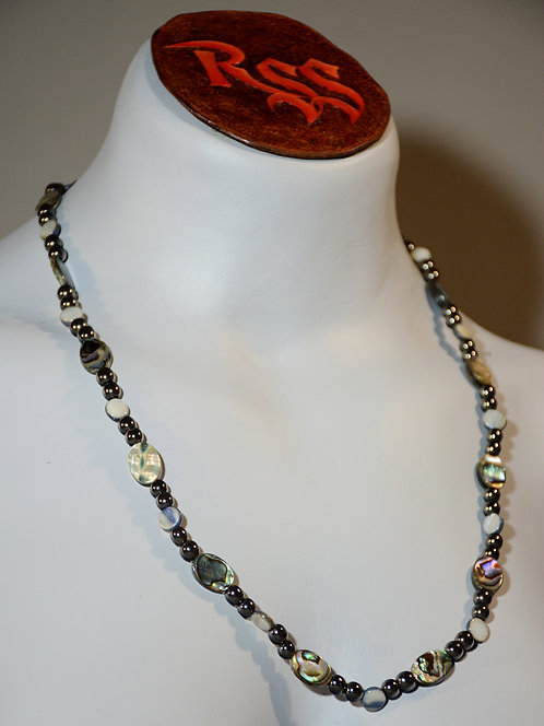 Hematite and Abolone Necklace by Red Stick Studio