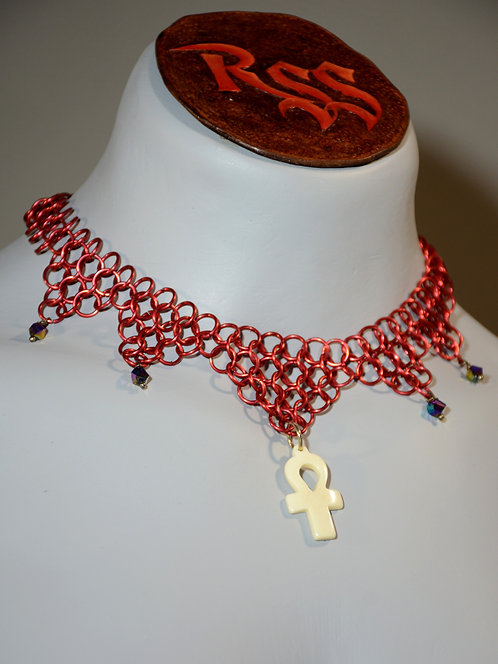 Red Anodized Chainmail & Bone Ankh Pendant Necklace accessory jewelry